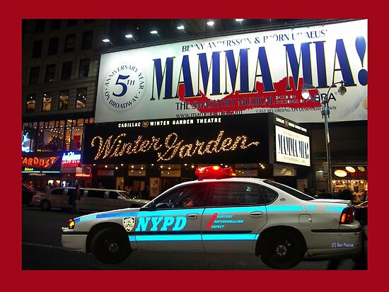 NYPD patrol, Broadway, New York by Bev Pascoe