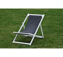 deck chair on green grass Photographic Print