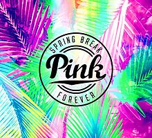 SPRING BREAK PINK LOGO GREEN TEAL VIBRANT LEAVES BEACH by SourKid