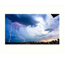 Lightning storm at night over Sydney city, Australia Art Print