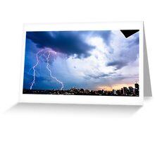 Lightning storm at night over Sydney city, Australia Greeting Card