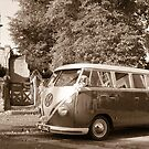 Wedding Camper Van - Sepia by Phil Parkin