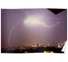 Lightning storm at night over Sydney city, Australia Poster