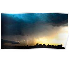 Lightning storm over Sydney city, Australia Poster