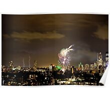 Lightning storm and fireworks over Sydney city, Australia  Poster