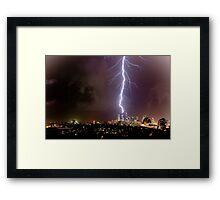 Lightning storm at night over Sydney city, Australia Framed Print