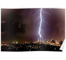 Lightning storm at night over Sydney city, Australia Poster