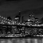 Night-Skyline NEW YORK CITY b&w by Melanie Viola