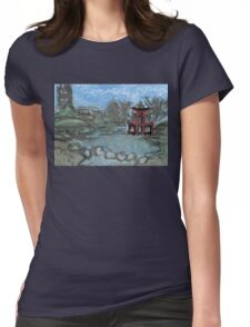red pagoda in the pond Womens Fitted T-Shirt