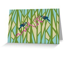 Tuis on a Tree with Pink Ribbon Greeting Card