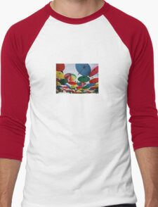 Street Decorated With Colored Umbrellas Men's Baseball ¾ T-Shirt