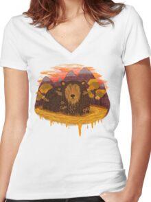HONEY HIBERNATION Women's Fitted V-Neck T-Shirt