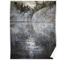 Rocks Reflecting Moonlight Poster