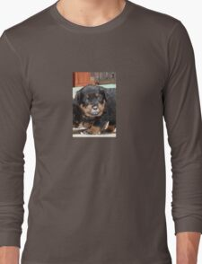 Messy Rottweiler Puppy With Food Covering Nose Long Sleeve T-Shirt
