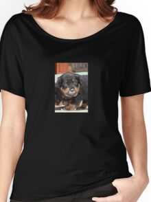 Messy Rottweiler Puppy With Food Covering Nose Women's Relaxed Fit T-Shirt