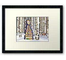 Winter in the birch woods Framed Print