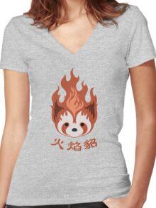 Legend of Korra: Fire Ferrets Pro Bending Emblem Women's Fitted V-Neck T-Shirt