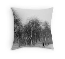 Braving the snowstorm Throw Pillow