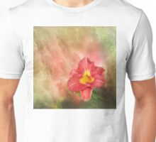 Red day lily on beautiful textured background Unisex T-Shirt
