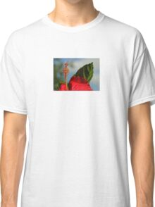 Close Up of Red Hibiscus Stamen and Pollen Classic T-Shirt