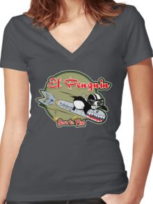 EL PENGUIN - Born to Fly Women's Fitted V-Neck T-Shirt
