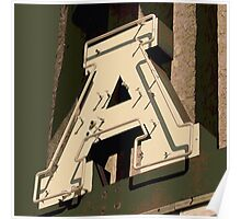 The Letter A in Neon Light Poster