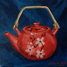 The Red Teapot. Oil on canvas. 26x26cm. 2012Ⓒ by Elizabeth Moore Golding