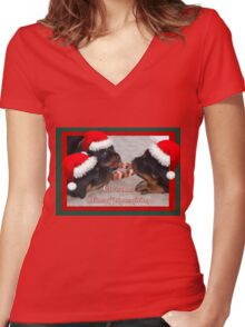 Christmas Rottweilers: A Time Of Joyous Giving  Women's Fitted V-Neck T-Shirt