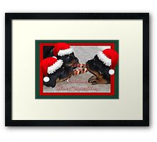 Christmas Rottweilers: A Time Of Joyous Giving  Framed Print