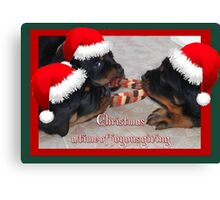 Christmas Rottweilers: A Time Of Joyous Giving  Canvas Print