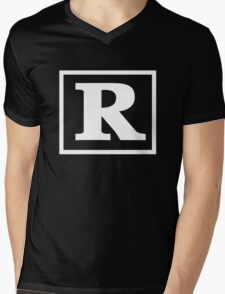 Rated R - In White Print Mens V-Neck T-Shirt