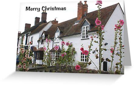 Christmas card - pretty English village cottage by BronReid