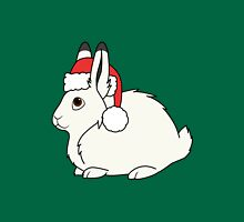 White Arctic Hare with Christmas Red Santa Hat Unisex T-Shirt
