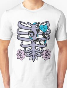 Ribcage Heart and Flowers T-Shirt
