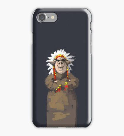 Painting of a Pig chief in a headdress iPhone Case/Skin