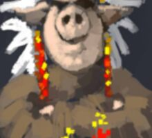 Painting of a Pig chief in a headdress Sticker