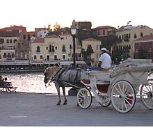 Chania harbour horse and cart. Photographic Print