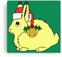 Yellow Arctic Hare with Santa Hat, Holly & Gold Bell Canvas Print