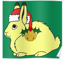 Yellow Arctic Hare with Santa Hat, Holly & Gold Bell Poster