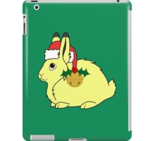 Yellow Arctic Hare with Santa Hat, Holly & Gold Bell iPad Case/Skin