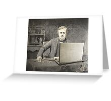 XIX century scientist with my laptop Greeting Card