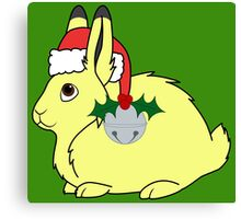 Yellow Arctic Hare with Santa Hat, Holly & Silver Bell Canvas Print