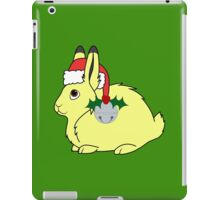 Yellow Arctic Hare with Santa Hat, Holly & Silver Bell iPad Case/Skin