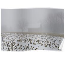 Barn , In Fog and Snow Poster