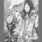 Sedna, Inuit Goddess of the Sea (B&W) - iPhone/iPod case by Genevieve  Cseh
