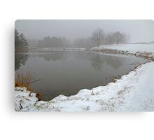 Pond In Snow Canvas Print
