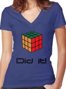 Rubix Cube - Did it! Women's Fitted V-Neck T-Shirt