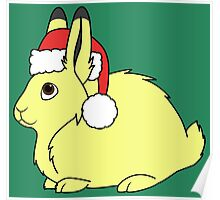 Yellow Arctic Hare with Christmas Red Santa Hat Poster