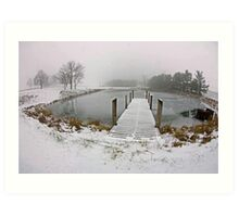 Snow on Pier, In Color Art Print