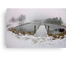 Snow on Pier, In Color Canvas Print